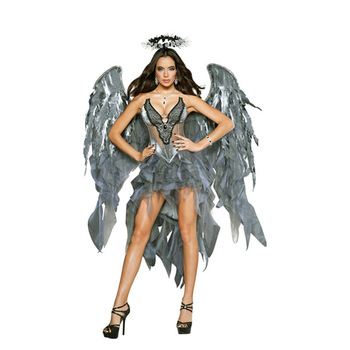 Sexy Devil Cosplay Costume For Women White Angel Costume With Wings Adult Sexy Angel Devil Costume For Halloween Party Dress