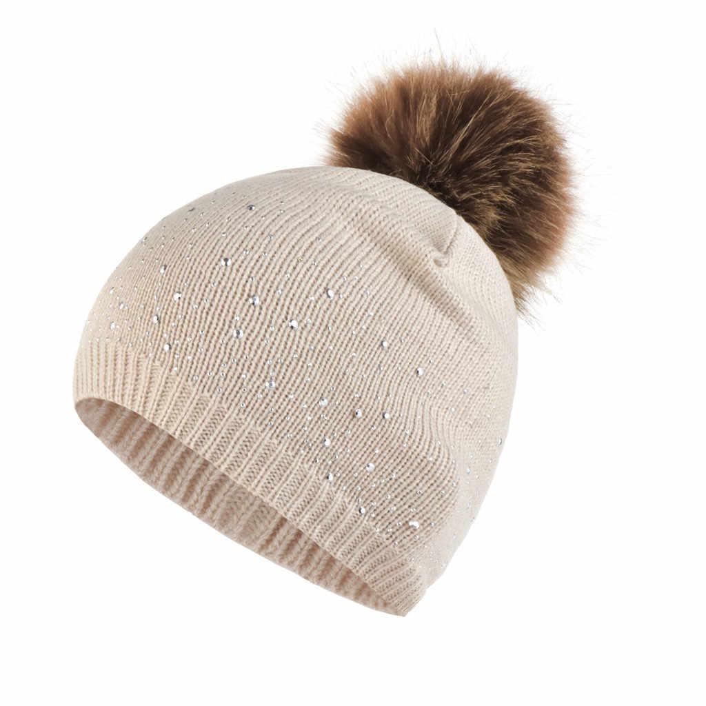 Vrouwen warm muts pompom winter hoed voor Vrouwen Breien Wol Zomen caps Strass Warm Houden Winter Hairball Cap vrouwen's hoed