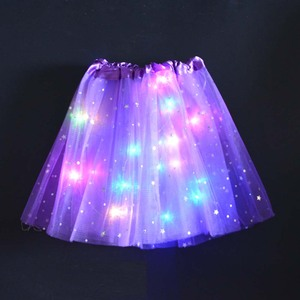 Star Ornament Princess Girls Kids Light Tutu LED Skirt Tulle Birthday Gift Glowing Neon Party Carnival Wedding Costume Dance(China)
