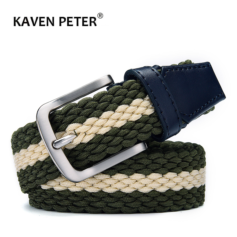 Fashion Casual Stretch Woven Belt With Leather Tip Top Elastic Belts For Men Jeans Mixed Color Braided Strap Zinc Alloy Buckle