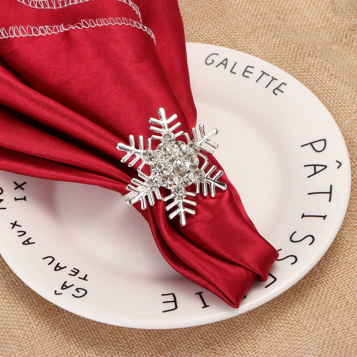 4pcs/set Sparkling Snowflake Napkin Buckles Rings Party Table Napkin Rings Holders Wedding Party Tableware Decoration Pendant