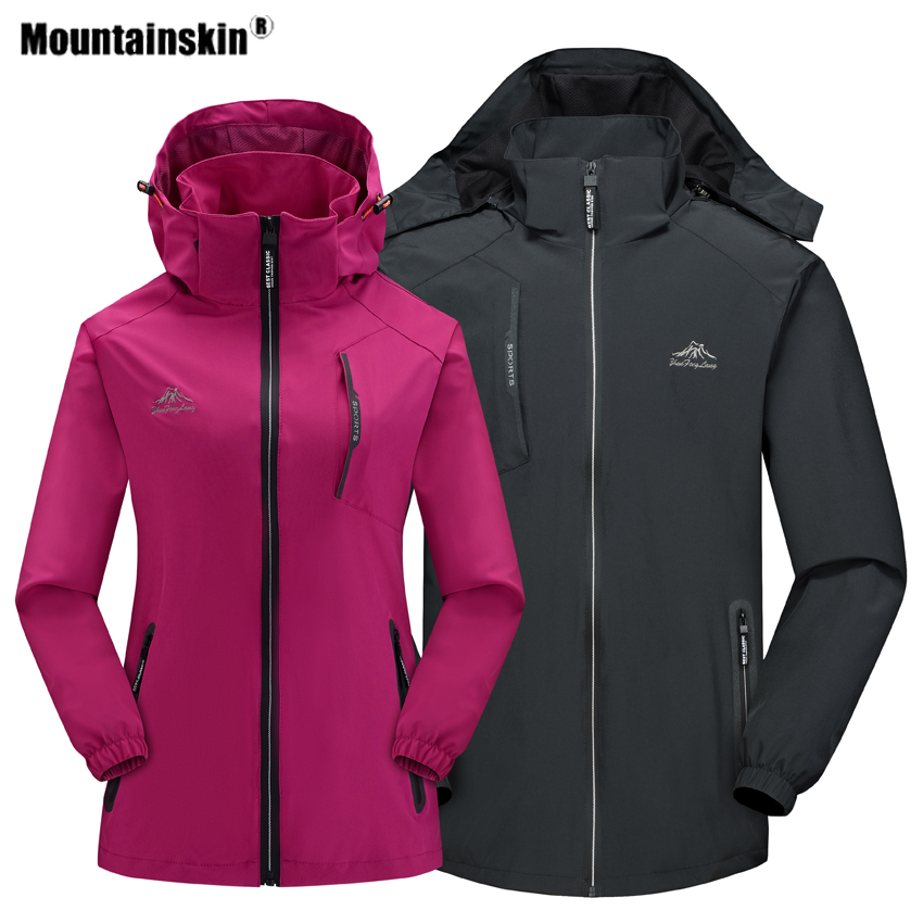 Mountainskin Men Women Spring Autumn Outdoor Hiking Jackets Running Climbing Camping Windbreaker Trekking Thin Hooded Coat VA569