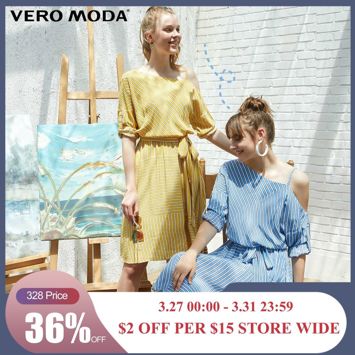 Vero Moda Women's Asymmetrical Shoulders 3/4 Sleeves High-rise Dress | 31927C508