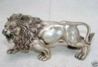 Chinese Tibet silver white exquisite bronze lion statue