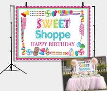 Sweet Shoppe Theme Backdrop Customize Donut Candyland Pink Photography Background Girls Birthday Party Decoration(China)