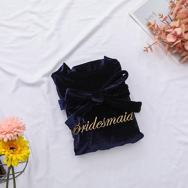 Warm Velvet Women Kimono Gown Exquisite Embroidery Bride Bridesmaid Wedding Robe Casual Soft Bathrobe Gown Sleepwear Nightdress