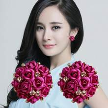 Korean-style Fashion Flower Anti-Allergy Stud Cute Rose Ear Clip Exaggerated Large Earrings Ear Stud Wholesale(China)