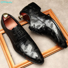 QYFCIOUFU Men Dress Shoes Genuine Leather Office Business Wedding Handmade Black Brogue Formal Pointed Toe Oxfords Mens Shoe vikeduo brown italy derby shoes patina brogue handmade office dress shoes mens footwear wedding business leather shoes zapatos