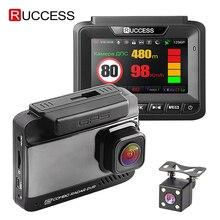 Ruccess DVR 3 en 1 para coche, Detector de Radar, GPS, Full HD, 1080P, cámaras duales, grabador de vídeo para automóvil, 1296P, visión nocturna rusa, WDR ADAS