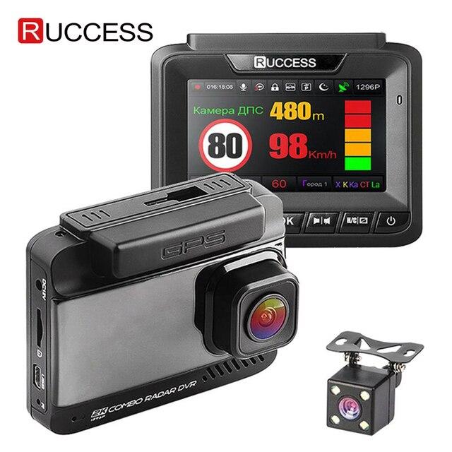 Ruccess DVR Xe Ô Tô 3 Trong 1 Đầu Ghi Cảm Radar GPS Full HD 1080P Camera Kép Tự Động Ghi Hình 1296P Nga Tầm Nhìn Ban Đêm WDR ADAS