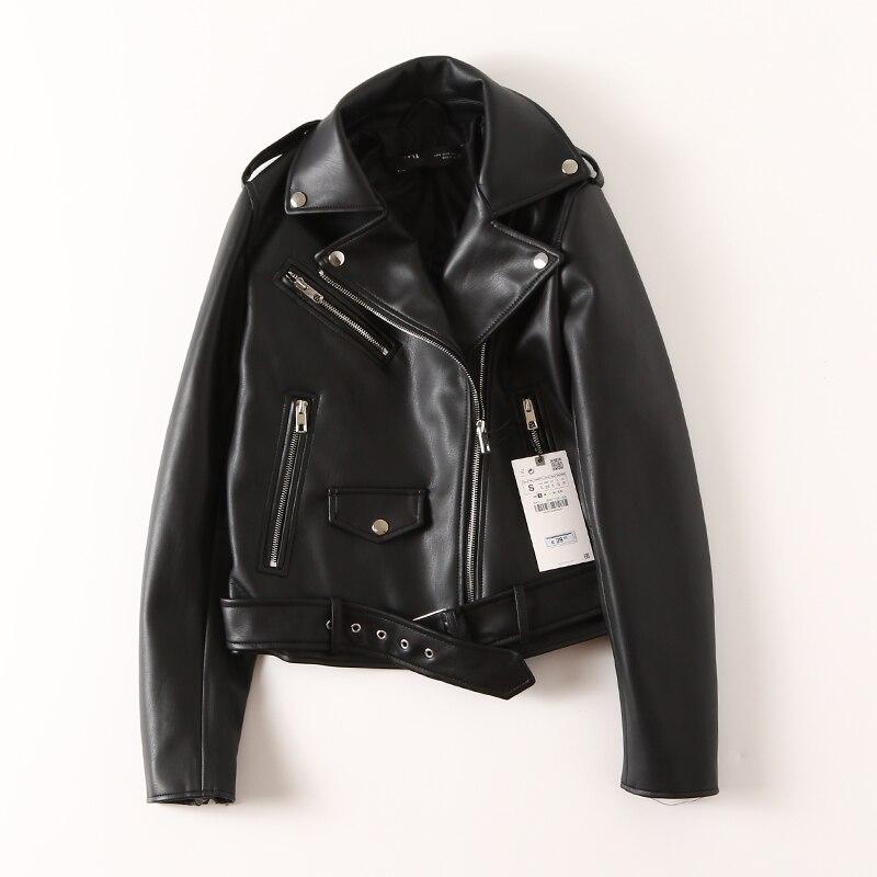 High Quality Women's Lusty Black Leather Jacket Short Ladies PU Leather Jacket 2020 Spring Moto Biker Leather Jacket Belt Zipper