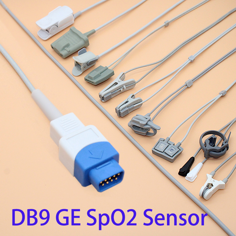 Compatible DB9 GE Spo2 sensor cable for adult/pediatric/child/Neonate/veterinary,Finger/Ear/Foot/Forehead Probe cable,1M.