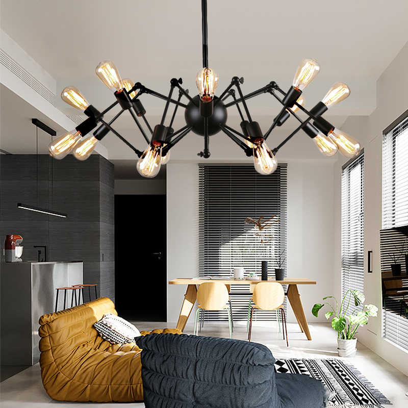 GLSZ Loft Industrial Spider Chandelier Retro Creative Nordic Clothing Store For Livingroom Bedroom Cafe Restaurant Hanging Lamp