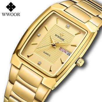 WWOOR 2021 nowy kwadratowy zegarek męski z automatyczną datą tygodnia luksusowe ze stali nierdzewnej złote męskie zegarki kwarcowe Relogio Masculino tanie i dobre opinie 20 5cm Moda casual QUARTZ Rohs 5Bar Zapięcie bransolety CN (pochodzenie) STOP 8 5mm Hardlex Kwarcowe zegarki Papier STAINLESS STEEL