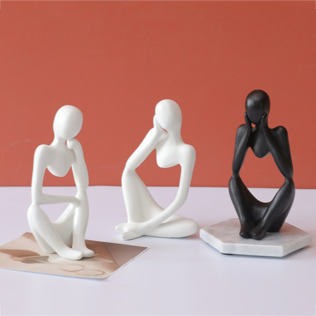 Abstract Thinker Statue Resin Sculpture Miniature Figurines Thinker Character European Style Office Home Decoration Accessories 5