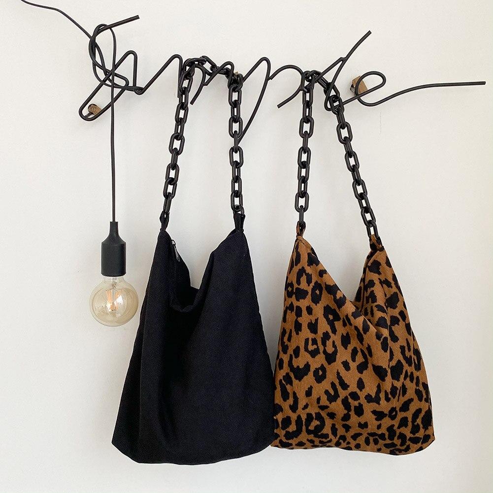 Винтажные акриловые цепочки, женские сумки на плечо, Дизайнерские Большие вместительные сумки leopart, вельветовые кошельки, Женская Повседне...