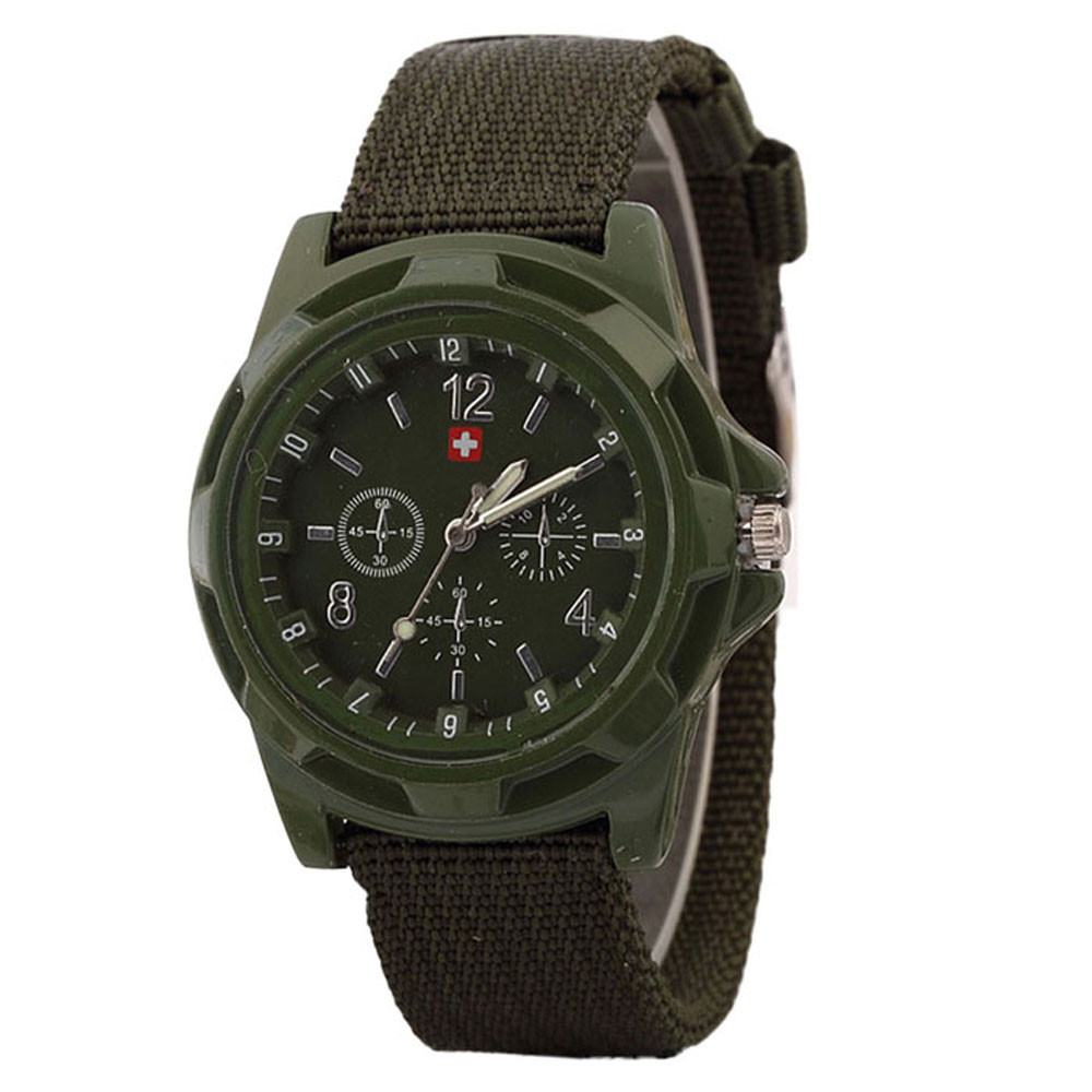 Men's Quartz Watch Military Green Dial Sport Style Quartz Wristwatch Nylon Strap Herenhorloge שעון גברים Zegarek Meski