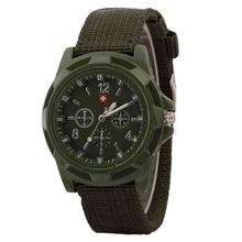 Men's Quartz Watch Military Green Dial Sport Style Quartz Wristwatch Nylon Strap herenhorloge שעון גברים zegarek meski