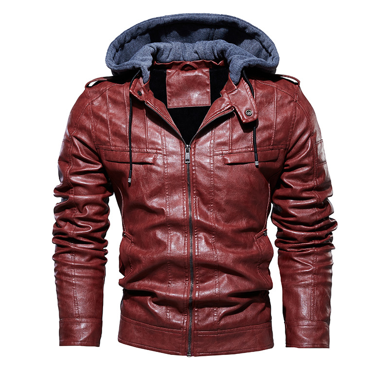 2020 Men Vintage Motorcycle Jacket Mens Outdoor Casual PU Leather Jacket Man Winter Coat Hooded Collar Club Bomber Jackets 4