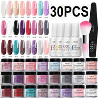 Azure Beauty 30Pcs/Lot Gradient Glitter Color Dipping Powder Nail Art Brush Kits Glitter Dip Powder Shiny Nail Powder Set