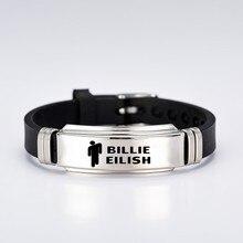Американский браслет певицы женские мужские черные силиконовые браслеты браслет из нержавеющей стали браслеты ювелирные изделия подарок для фанатов