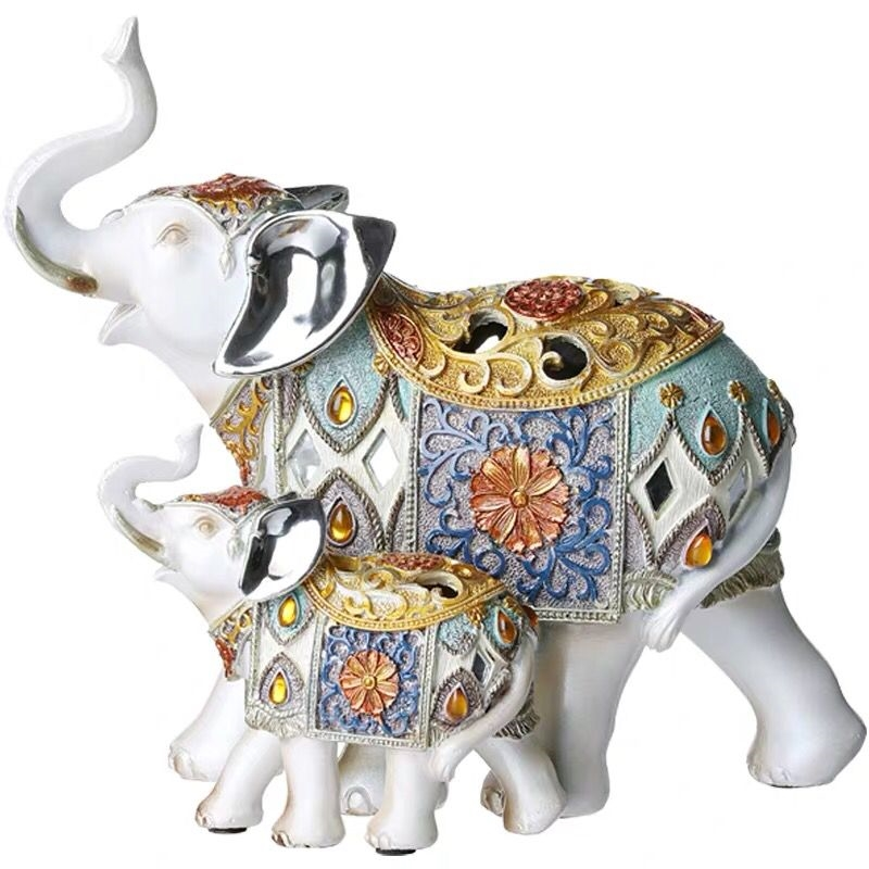 Hand carved elephant mascot birthday gift resin high quality home decoration