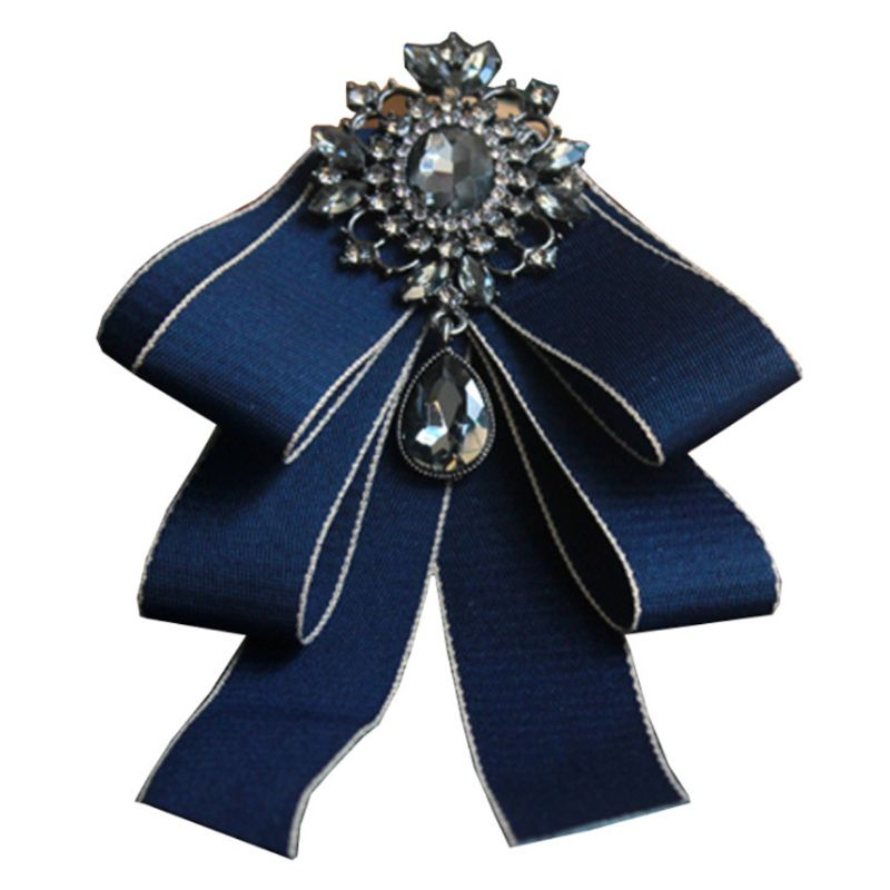 Men Women Wedding Ribbon Neck Tie Faux Crystal Rhinestone Drop Bowtie Brooch Pin Badge High Quality And Brand New