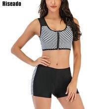 Riseado Sports Bikini Set Stripe Swimwear Women Zipfront Swimsuit Push Up Beach Wear Patchwork Bikini Boyleg Biquini 2021 Summer