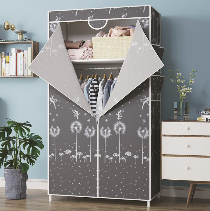 Simple Small Wardrobe Clothe Storage Cabinets Folding Non-woven Closet Steel Pipe Individual Wardrobe Bedroom Modern Dust-proof