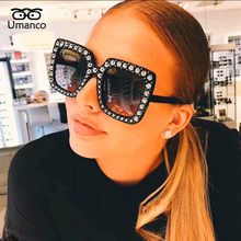 Umanco Vintage Rhinestone Sunglasses Women Big Square Eyewear Female Crystal Charm Oversized Brand Designer Rays Goggle Travel(China)