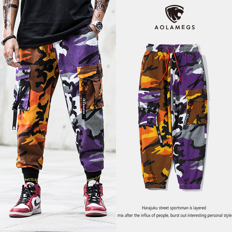 Aolamegs Sweatpants Patchwork Color Drawstring Pants Men Cargo Style Elastic Waist Hip Hop Loose High Street Joggers Streetwear