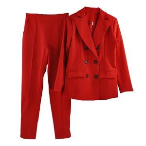 Image 5 - MVGIRLRU ofis Lady Blazer pantolon takım elbise kadın çentikli yaka düğmeleri ceket ve düz pantolon 2 parça setleri