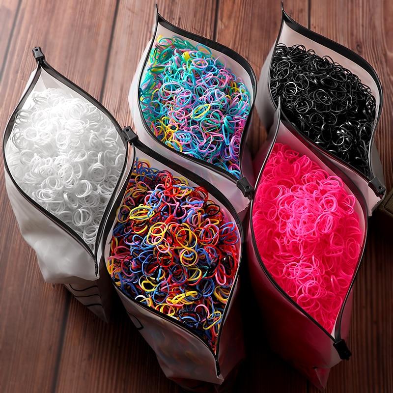 2000pcs Girls Hair Accessories gift Nylon Rubber Band Elastic Hair Bands  Headband Children Ponytail Holder Bands Kids Ornaments
