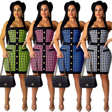 Women Summer Halter Backless sexy Dress Floral Print Criss Cross back Zipper Button Down Houndstooth Bodycon Dress недорого