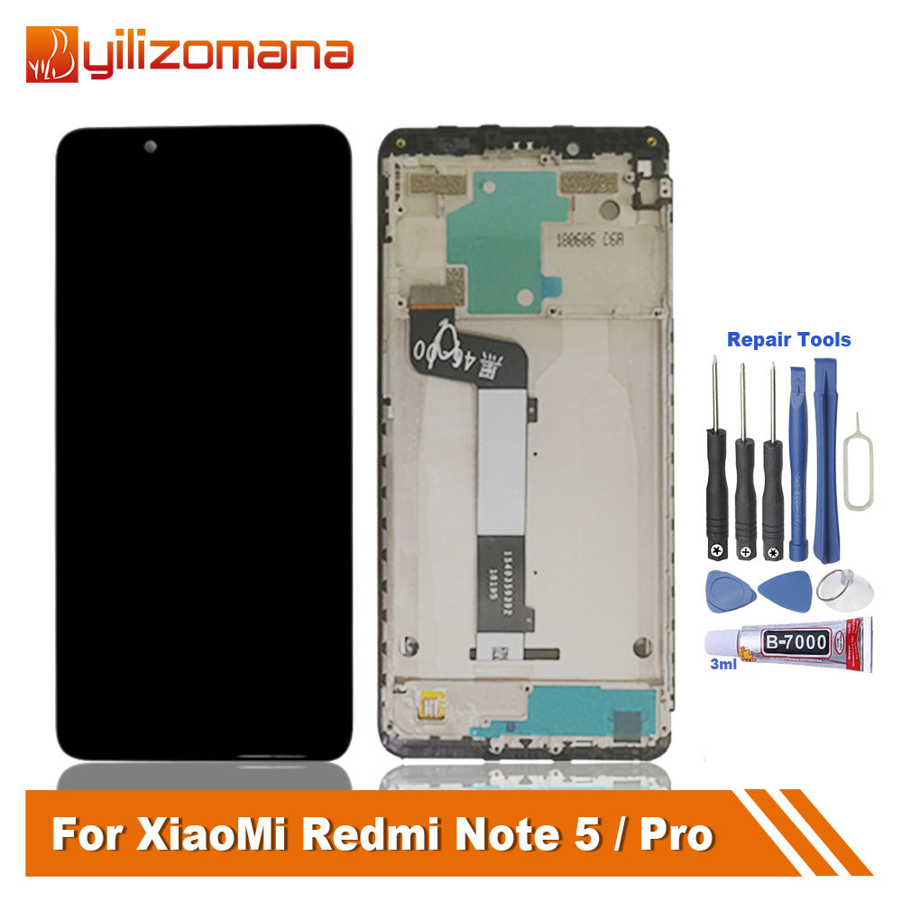 YILIZOMANA Original LCD Touch Screen Frame For Xiaomi Redmi Note 5 Pro Display for Replacement Repair Parts