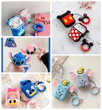 For Airpods 2 Case Silicone Stitch Cartoon Cover For Apple Airpods Case Cute Earphone 3D Headphone case For Earpods Christmas(China)