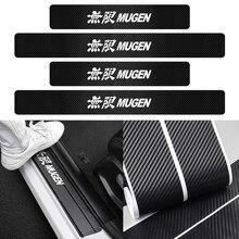 4Pcs Car Door Sill Protector Plate Carbon Fiber Stickers Cover Door Anti Scratch For Honda Fit Mugen civic VTEC DOHC Modulo