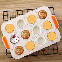 12 Even Muffin Cup Silicone Cake Mold Food Grade Round DIY Multifunctional Cake Baking Pan Household Non-stick Baking Mold