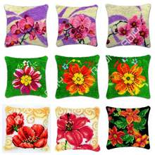 Latch Hook Poppy Daisy Orchid Cushion Cover Pre-Printed Color Canvas Crocheting Art & Crafts Pillow Case Sofa Pillows Home Decor(China)