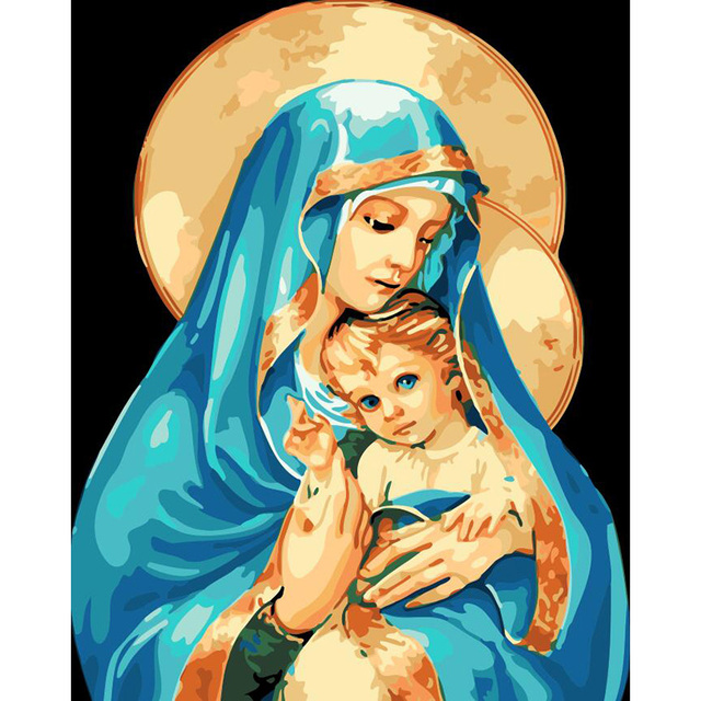Religious Paint By Numbers Kit Mary Baby Jesus Madonna Icon