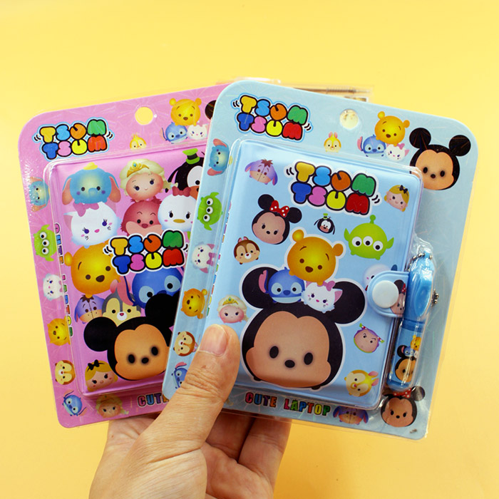 Mickey Tsum Mini Notebook + Ballpoint Pen Disney Cute Cartoon Record Book Stationery Student School Supplies Holiday Gift