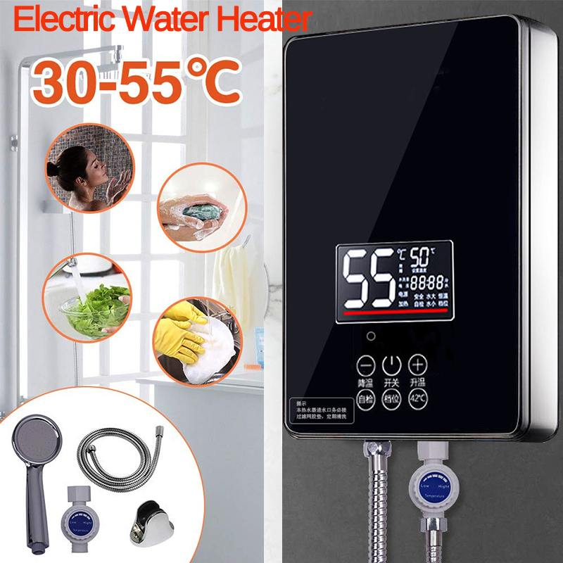 Electric Hot Water Heater 6000W 220V Tankless Instant Boiler Bathroom Shower Set Thermostat Safe Intelligent Automatically Black