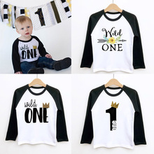 Birthday T-Shirt Raglan Wild Toddler Boys Tops Long-Sleeve Girls Baby First Fashion One
