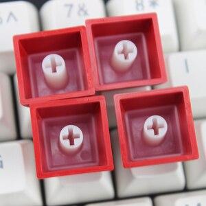 Image 4 - Doubleshot חומר עם תאורה אחורית Sa Keycaps סט PBT אדום כחול לבן שקוף גופן עבור משחקים מכאניים מקלדת ASNI Gh 104 60 87