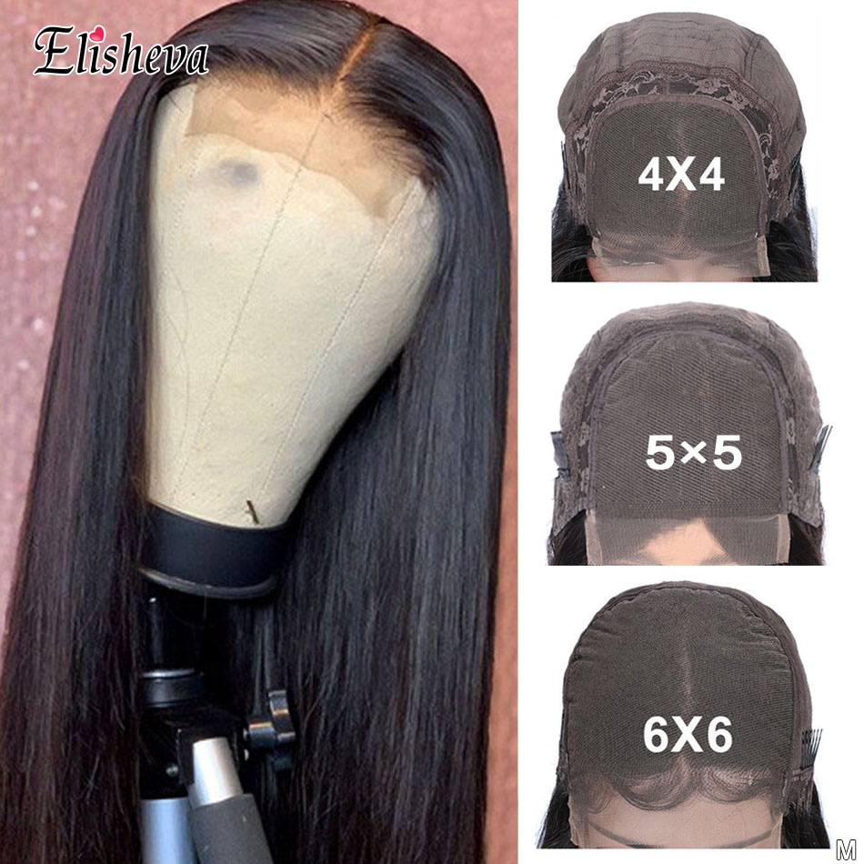 Human Hair Closure Wigs 6x6 Closure Wig Straight 4x4 Closure Wig Pre Plucked 5x5 Lace Closure Wig 150Density Malaysian Remy Hair