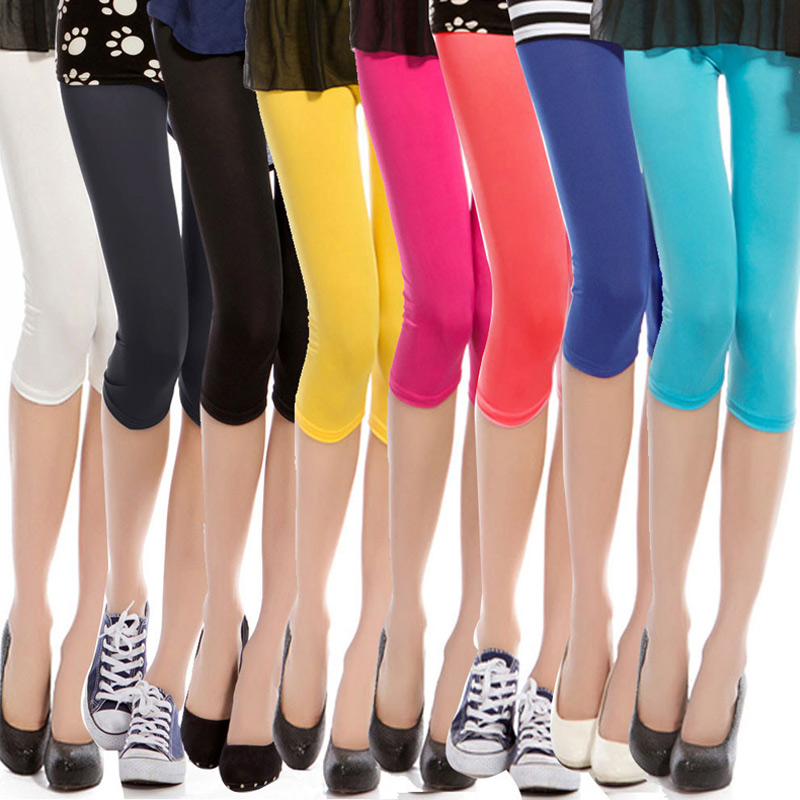 Newest Candy Colors Summer Cool Leggings Women Shiny Trousers Capris Ice Silk Soft Pants Fashion Slim High Waist Workout Clothes