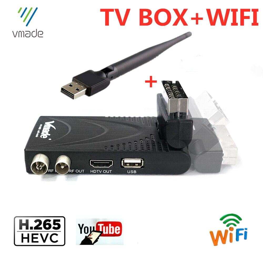Цифровой HD мини-ресивер Горячая Распродажа Europe DVB T2 с поддержкой H.265/HEVC, поддержка Youtube с SCART set top Box с Wi-Fi