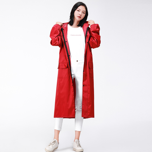 Adult Raincoat Women Thickened Rain Coat Poncho Pink Long Rain Jacket Body Rain Cover Clothes Windbreaker Gabardina Mujer Gift 5