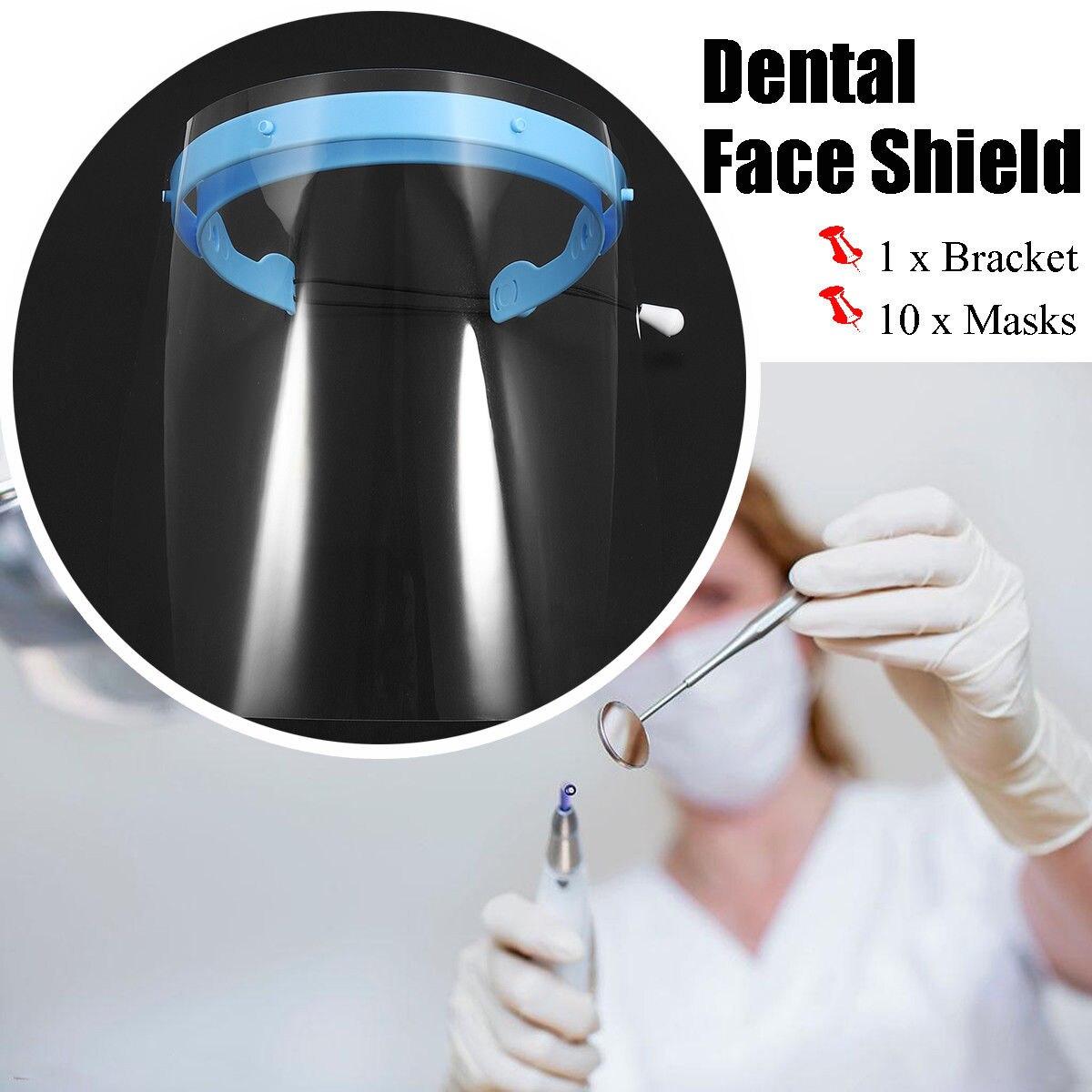 Dental Protective Plastic Films Masks Face Shield Plus 10 Pcs Detachable Visors