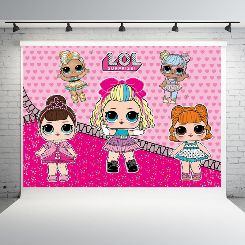 New Original LOL Surprise Party Birthday Background Cloth Theme Layout Anime Figure Dolls Decoration Supplies Kids Gift
